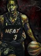 Basketball Sports Drawings Prints - Dwyane Wade Print by Maria Arango