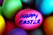 Crafts For Kids Posters - Dyed Easter Eggs - Happy Easter message Poster by Steve Ohlsen