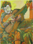 Bob Dylan Painting Originals - Dylan in Orange and Green by Jeffrey Carnal