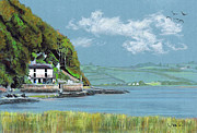 Seagull Drawings Metal Prints - Dylan Thomas Boathouse II Metal Print by Lynn Blake-John