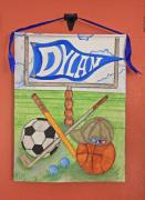 Child Tapestries - Textiles - Dylans Bedroom Banner by Linda Lane