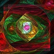 Green Framed Prints Digital Art - Dynamic Connections by Oni H