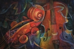 Red Art Prints - Dynamic Duo - Cello and Scroll Print by Susanne Clark