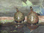 Reptiles Painting Originals - Dynamic Duo by Deborah Brown