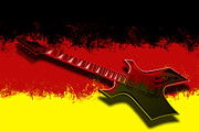 Instrument Digital Art Metal Prints - E-Guitar - German Rock II Metal Print by Melanie Viola