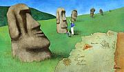 Childrens Book Prints - E is for Easter Island... Print by Will Bullas