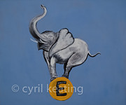E Black Prints - E is for Elephant Print by Cyril Keating