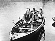 Gamma Rays Prints - E. Rutherford With His Wife And Daughter In A Boat Print by Prof. Peter Fowler
