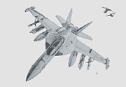 Fighter Jet Drawings - EA-18G Growler by Nicholas Linehan
