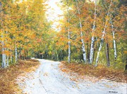 Gravel Road Painting Framed Prints - Each Bend In The Road Framed Print by Ken Ahlering