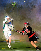 Lacrosse Paintings - Eagan Defense by Scott Melby