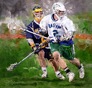 Lacrosse Paintings - Eagan Midfielder by Scott Melby