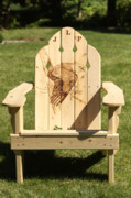 Chair Pyrography Framed Prints - Eagle Adirondack Chair Framed Print by Angel Abbs-Portice