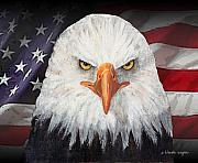 Waving Mixed Media Prints - Eagle And The Flag Print by Arline Wagner