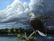 Thunderstorm Painting Framed Prints - Eagle Awaiting Storm Framed Print by Mark Mittlesteadt