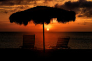 Beach Umbrella Posters - Eagle Beach Sunset Poster by DJ Florek