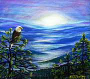 Eagle Pastels Prints - Eagle Blue Ridge Mountain Sunrise Print by Patricia L Davidson 