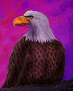 Eagle Painting Posters - Eagle Crimson skies Poster by Nick Gustafson
