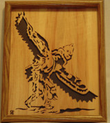 Native Sculpture Framed Prints - Eagle Dancer Framed Print by Russell Ellingsworth
