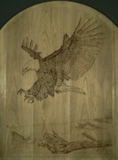 Trout Pyrography Posters - Eagle Door Panel Poster by Angel Abbs-Portice