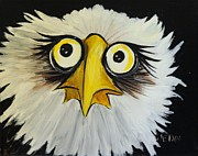 Caricature Paintings - Eagle Eyes by Jean Kieffer