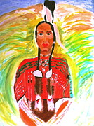 American Eagle Paintings - Eagle Feather Native American by Stanley Morganstein