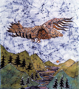 Bird Landscape Tapestries - Textiles - Eagle Flies Above Gorge by Carol Law Conklin