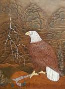 Lightening Mixed Media Prints - Eagle in the Storm Print by Larry Bruhn
