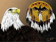 American Eagle Paintings - Eagle Medicine by Pablo DeLuna