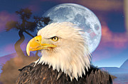 Marty Koch Posters - Eagle Moon Poster by Marty Koch