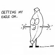 Cartoon Drawings - Eagle On Comic by Karl Addison
