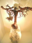 Tree Sculpture Originals Ceramics Originals - Eagle on Crystal by Judy Byington
