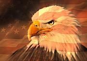 Eagle On Flag Print by Marty Koch