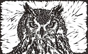 Linoprint Framed Prints - Eagle Owl Framed Print by Julia Forsyth