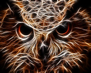 Harry Potter Digital Art - Eagle Owl - Owl Eyes by Elaine Snyder