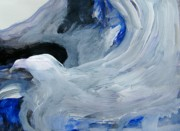 Natural World Paintings - Eagle Riding on Waves by Judith Redman
