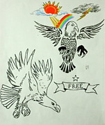 Lightning Drawings Prints - Eagle Spred Print by Pete Maier