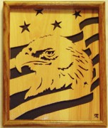 Woodcarving Sculpture Originals - Eagle with Flag by Russell Ellingsworth