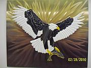 Patterned Mixed Media Originals - Eagle with Salmon by Rob Harder