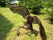 Landscapes Sculptures - Eagle with snake wire sculpture by Leslie Komaromi