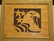 Scroll Saw Posters - Eagle with Stars Poster by Russell Ellingsworth