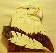 Intarsia Eagle Sculpture Prints - Eaglehead with Two Feathers Print by Russell Ellingsworth