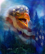 American Flag Mixed Media - Eagles Cry by Carol Cavalaris