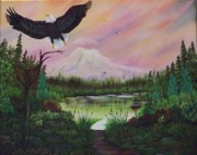Raptors Mixed Media Posters - Eagles Landing Poster by Laurie Kidd