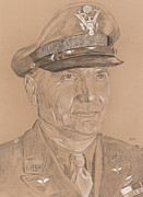 Army Drawings Originals - Eaker by Dennis Larson