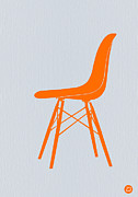 Iconic Metal Prints - Eames Fiberglass Chair Orange Metal Print by Irina  March
