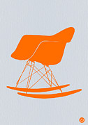 Rocking Chair Framed Prints - Eames Rocking chair orange Framed Print by Irina  March