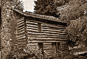 Early Photo Prints - Early American Log Home Print by Douglas Barnett