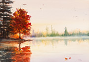 Autumn Trees Painting Posters - Early Autumn Reflections Watercolor Painting Poster by Michelle Wiarda