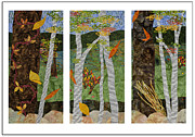 Fabric Mixed Media - Early Autumn Triptych by Julia Berkley